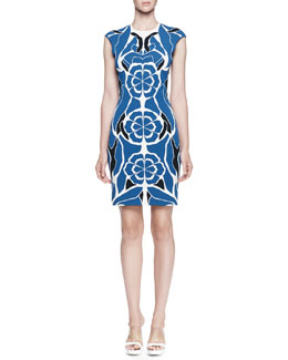 Floral-Jacquard Fitted Sheath Dress