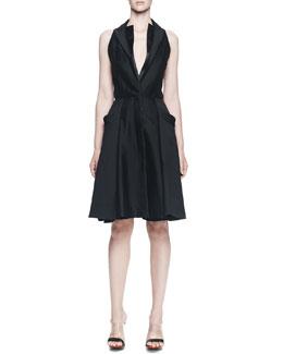 Sleeveless Halter-Front A-line Dress