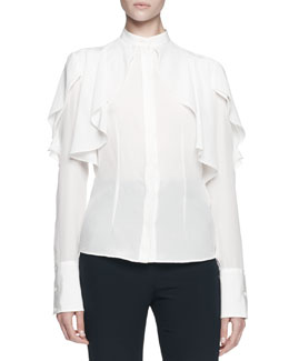 Long-Sleeve Draped Ruffle Blouse