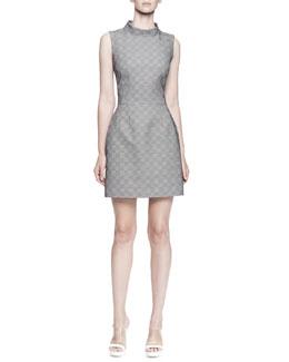 Sleeveless Plaid Mock-Neck Dress