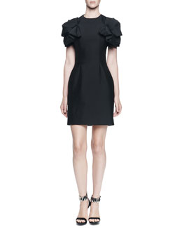 Jewel-Neck Folded Pouf-Sleeve Dress