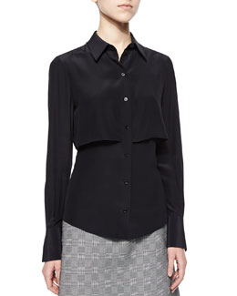 Double-Layered Button Blouse, Black
