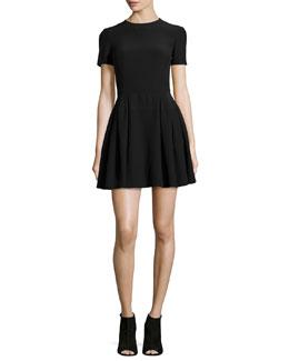 Short-Sleeve Pleated Crepe Dress