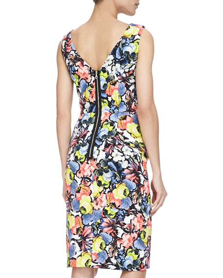 Draped Cowl Neck Dress: Erdem Mariko Floral-Print Cowl-Neck Draped Dress