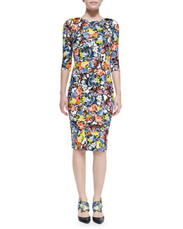 Erdem Wilhemina Half-Sleeve Floral Sheath Dress