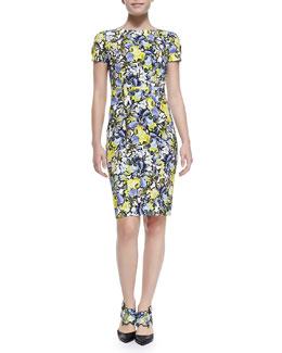 Erdem Joyce Short-Sleeve Floral Sheath Dress