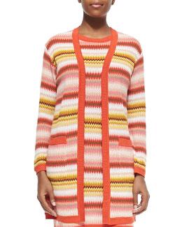 Long Zigzag-Striped Open Cardigan