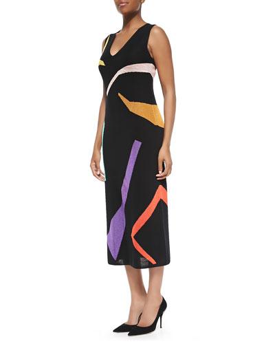 Abstract Intarsia-Knit Long Dress