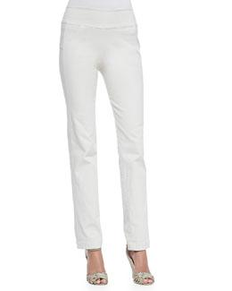 Mid-Rise Seamed Skinny Pants