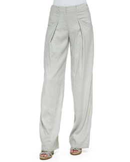 Pleated Relaxed Linen-Blend Pants
