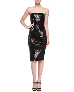 Strapless Sequined Dress w/ Satin Insert