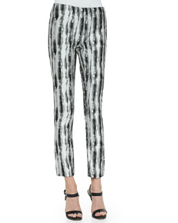 Printed Slim Ankle Pants