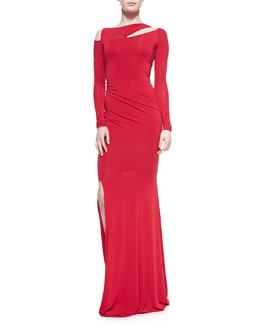 Long-Sleeve Cold-Shoulder Slash Gown, Real Red