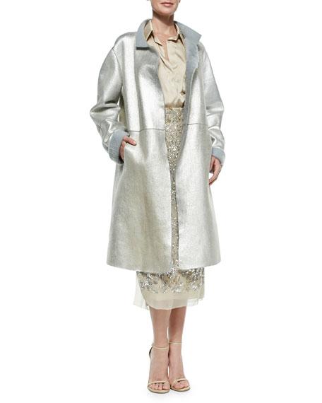 Metallic Leather Topper Coat, Platinum
