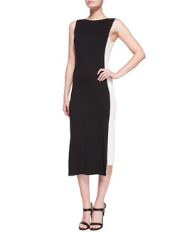 Sleeveless Uneven-Hem Sheath Dress