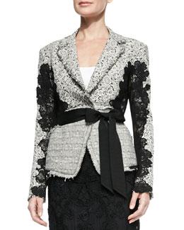 Grosgrain-Belted Lace Jacket, Ivory/Black
