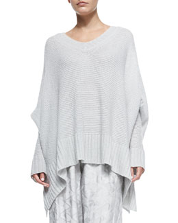 Oversized V-Neck Poncho Sweater