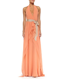 Belted V-Neck Halter Gown