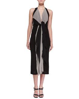 Sleeveless Twisted-Cascade Ruffle Dress