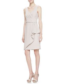 Sleeveless Surplice Drape Dress, Almond