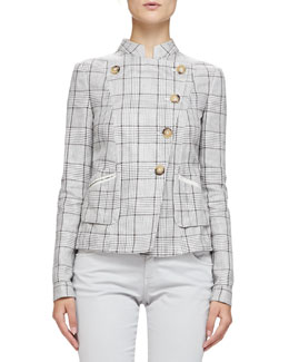 Prince of Wales Mandarin-Collared Jacket, Hazelnut