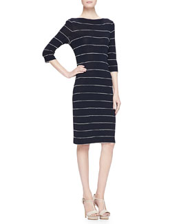 Elbow-Sleeve Striped Knit Dress, Navy