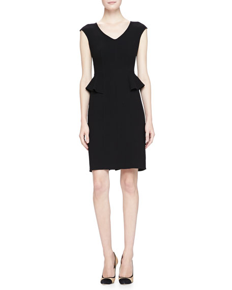 Armani Collezioni Cap Sleeve V Neck Peplum Dress Black