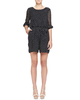 Dot-Print Georgette Short Jumpsuit, Black/White
