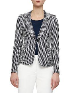Oval Jacquard Single-Button Jacket