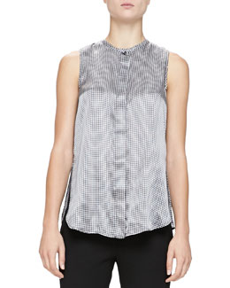 Gingham-Print Satin Blouse