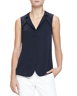 Sleeveless Collared Charmeuse Blouse, Navy