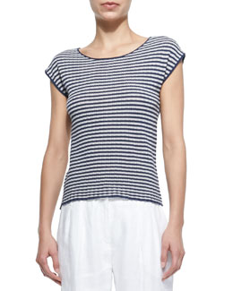 Striped Cap-Sleeve Knit Top
