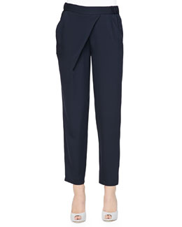 Asymmetric-Draped Charmeuse Pants, Navy