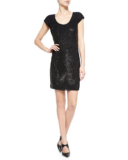 Sequin Pinstripe Scoop-Neck Dress, Black