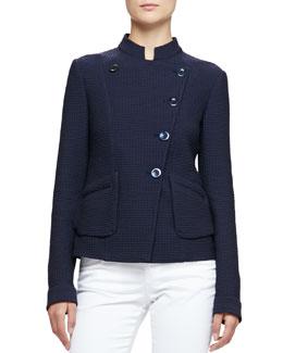 Asymmetric Geometric Jacquard Jacket