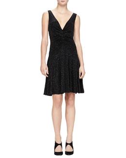 V-Neck Glitter Jersey Dress