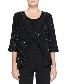 Fully Beaded Shrug, Black