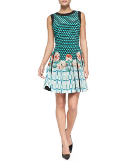 Etro Sleeveless Plaid, Floral & Grid-Print Dress