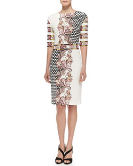 Etro Elbow-Sleeve Static & Paisley-Print Dress