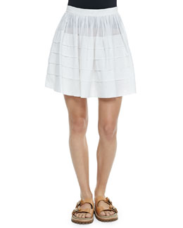 Tiered Cotton Miniskirt, Optic White