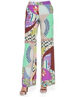 Wide-Leg Silk Patch-Print Pants