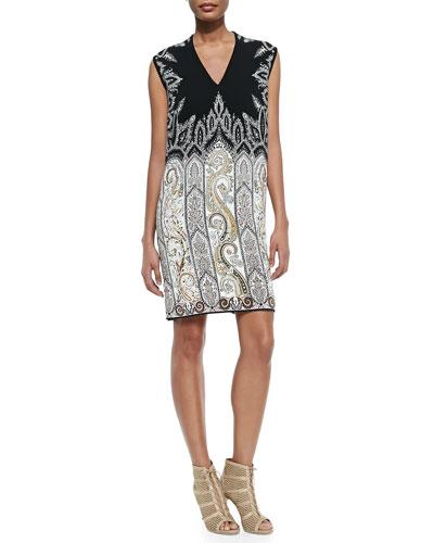 V-Neck Petal/Paisley Combo Dress