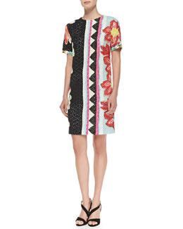 Short-Sleeve Zigzag Floral Shift Dress