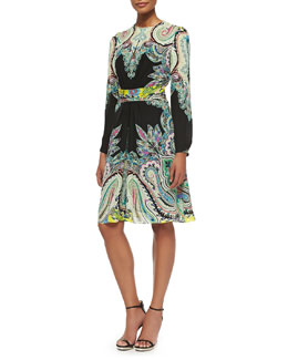 Long-Sleeve Paisley Belted Dress
