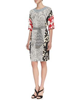 1/2-Sleeve Combo-Print Tunic Dress