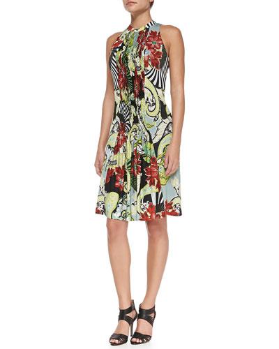 Fan, Floral & Paisley-Print Smocked Halter Dress