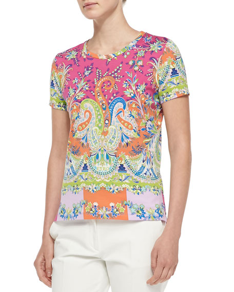 Short-Sleeve Placed Paisley Tee, Pink