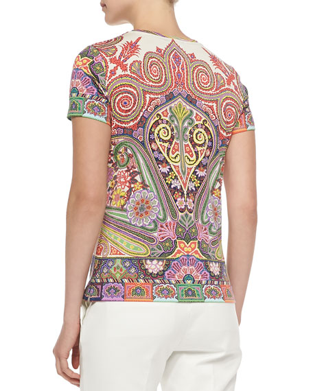 Short-Sleeve Placed Paisley Tee, Coral