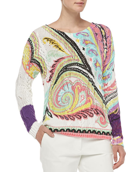 Hand-Painted Paisley Fisherman Sweater