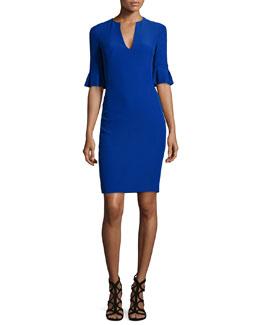 Flutter-Sleeve V-Neck Crepe Dress